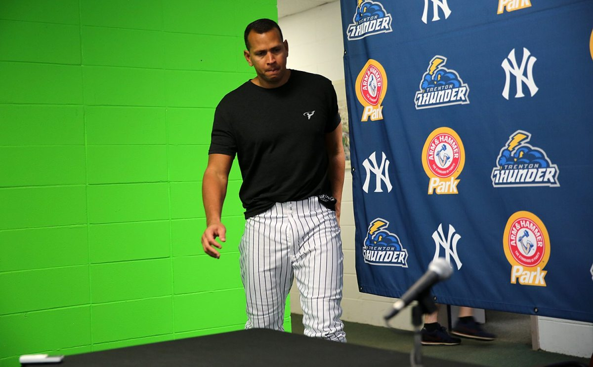 New York Yankees slugger Alex Rodriguez arrives at a press conference at ARM & HAMMER Park in Trenton on Wednesday, May 25, 2016 before a game against the New Hampshire Fisher Cats. Rodriguez joined the Double A Trenton Thunder team for a second day as part of a rehab assignment. Photo by Martin Griff