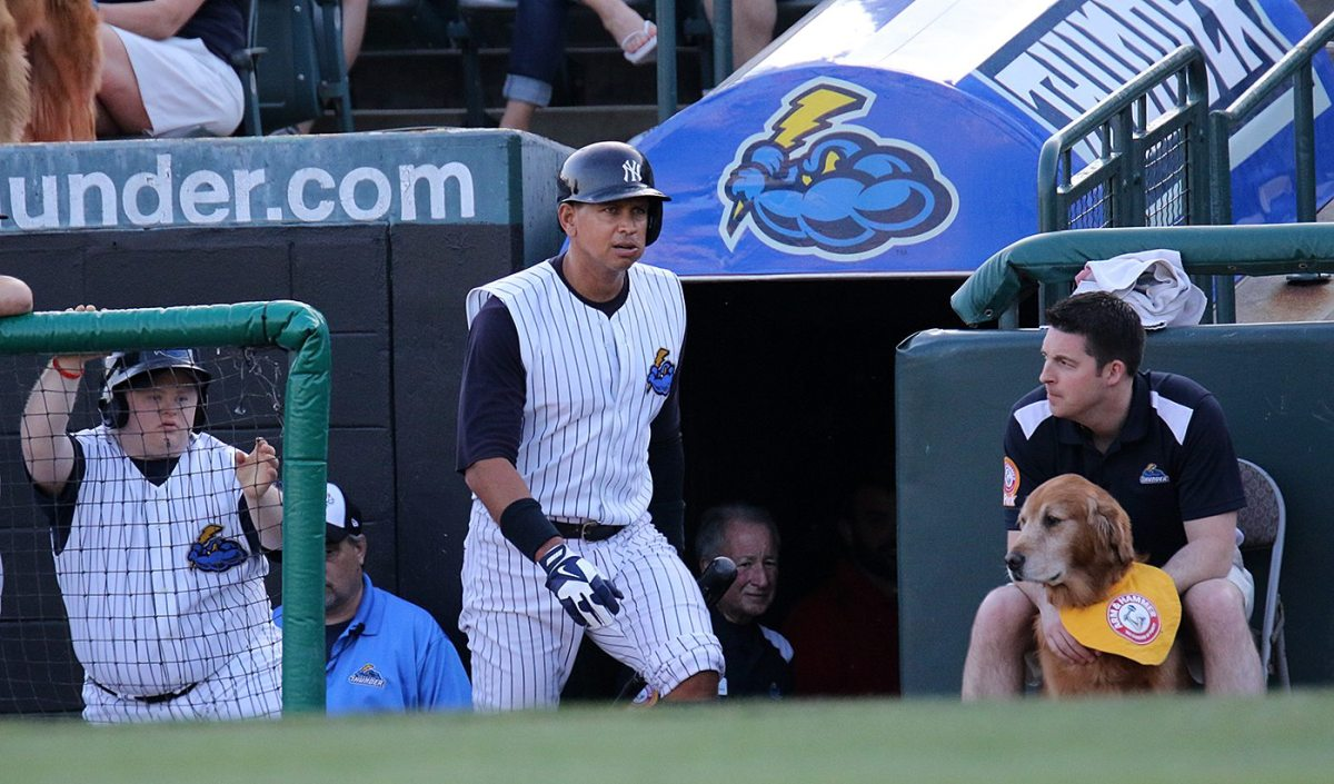New York Yankees slugger Alex Rodriguez heads to the on-deck circle at ARM & HAMMER Park in Trenton on Wednesday, May 25, 2016 during the first inning of a game against the New Hampshire Fisher Cats. Rodriguez joined the Double A Yankee farm team for a second day as part of a rehab assignment. Photo by Martin Griff