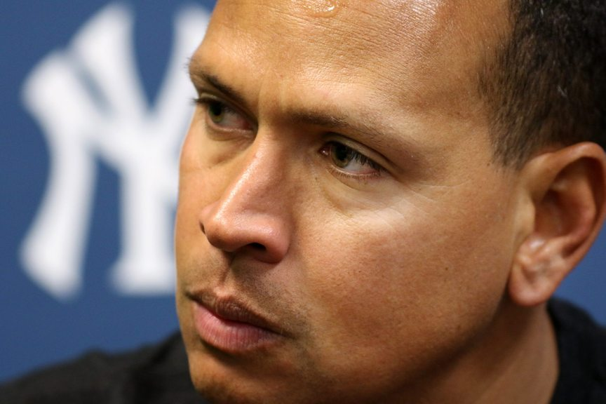 New York Yankees slugger Alex Rodriguez talks to media after taking batting practice with the Trenton Thunder at ARM & HAMMER Park in Trenton on Tuesday, May 24, 2016 before a game against the New Hampshire FisherCats. Rodriguez joins the Double A team as part of a rehab assignment because of a hamstring injury Photo by Martin Griff