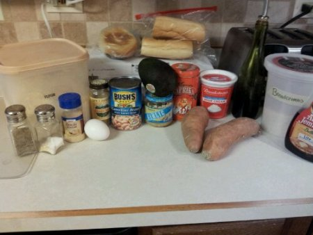 Ingredients for Smokey Sweet Potato Burgers