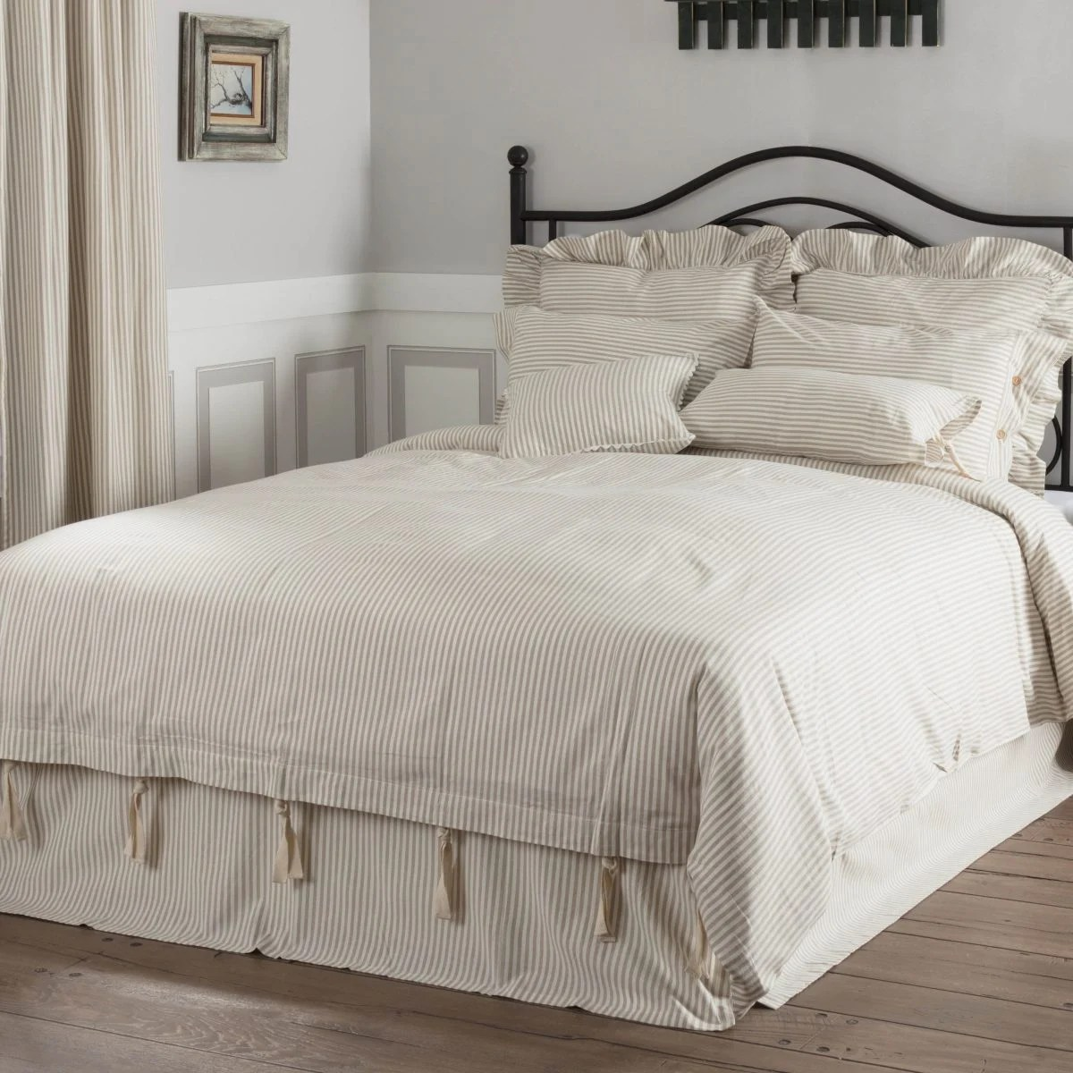 Quilt Cover King Farmhouse Ticking Taupe Duvet Cover King