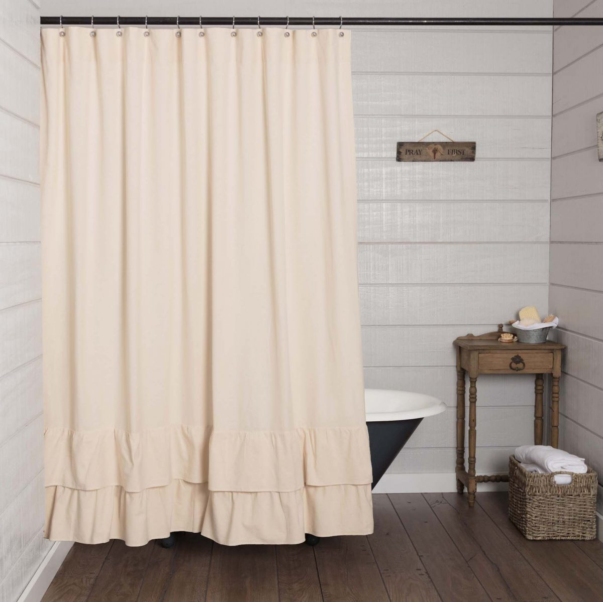Shower Curtains Sale Ruffled Chambray Natural Shower Curtain