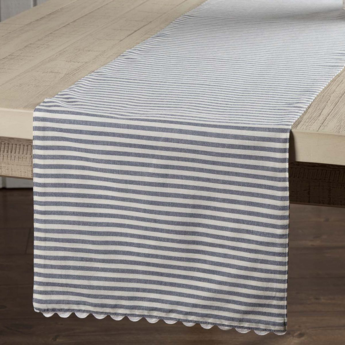 Farmhouse Style Table Runners Farmhouse Ticking Blue Table Runner 72 Quot Piper Classics