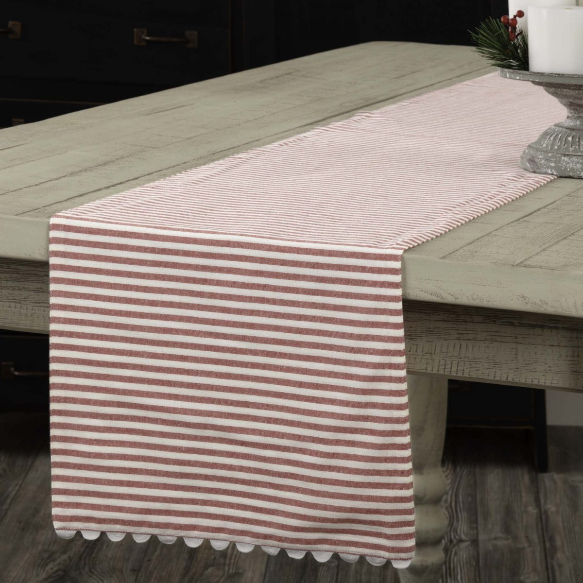 Farmhouse Style Table Runners Farmhouse Ticking Red Table Runner 36 Quot Piper Classics