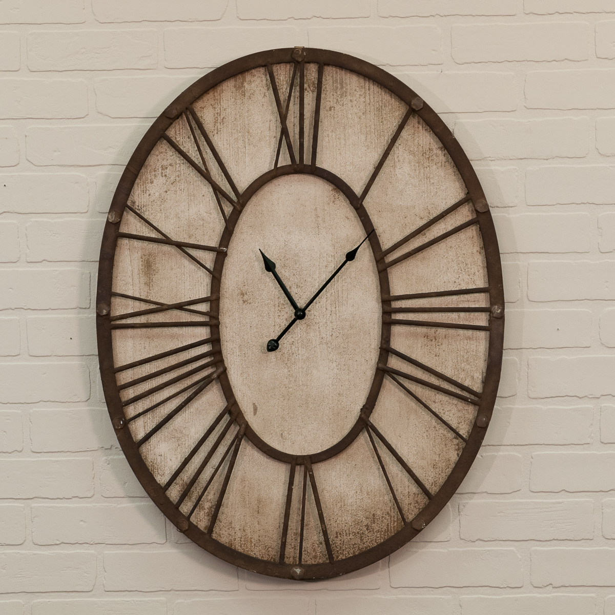 Oval Clock Face Wooden White Washed Clock With Roman Numerals