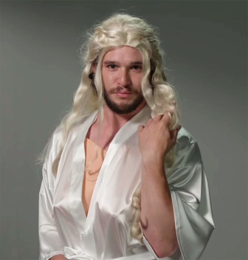 "Video mostra Kit Harington vestido como Daenerys em ""teste"" de Game of Thrones"