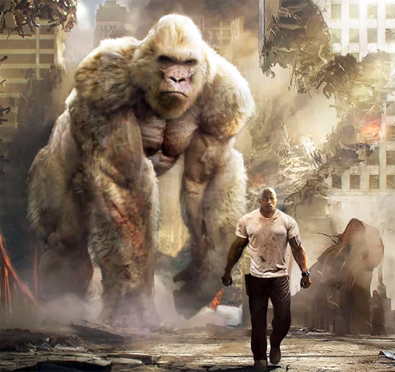 Dwayne Johnson enfrenta monstros gigantes no novo trailer legendado de Rampage