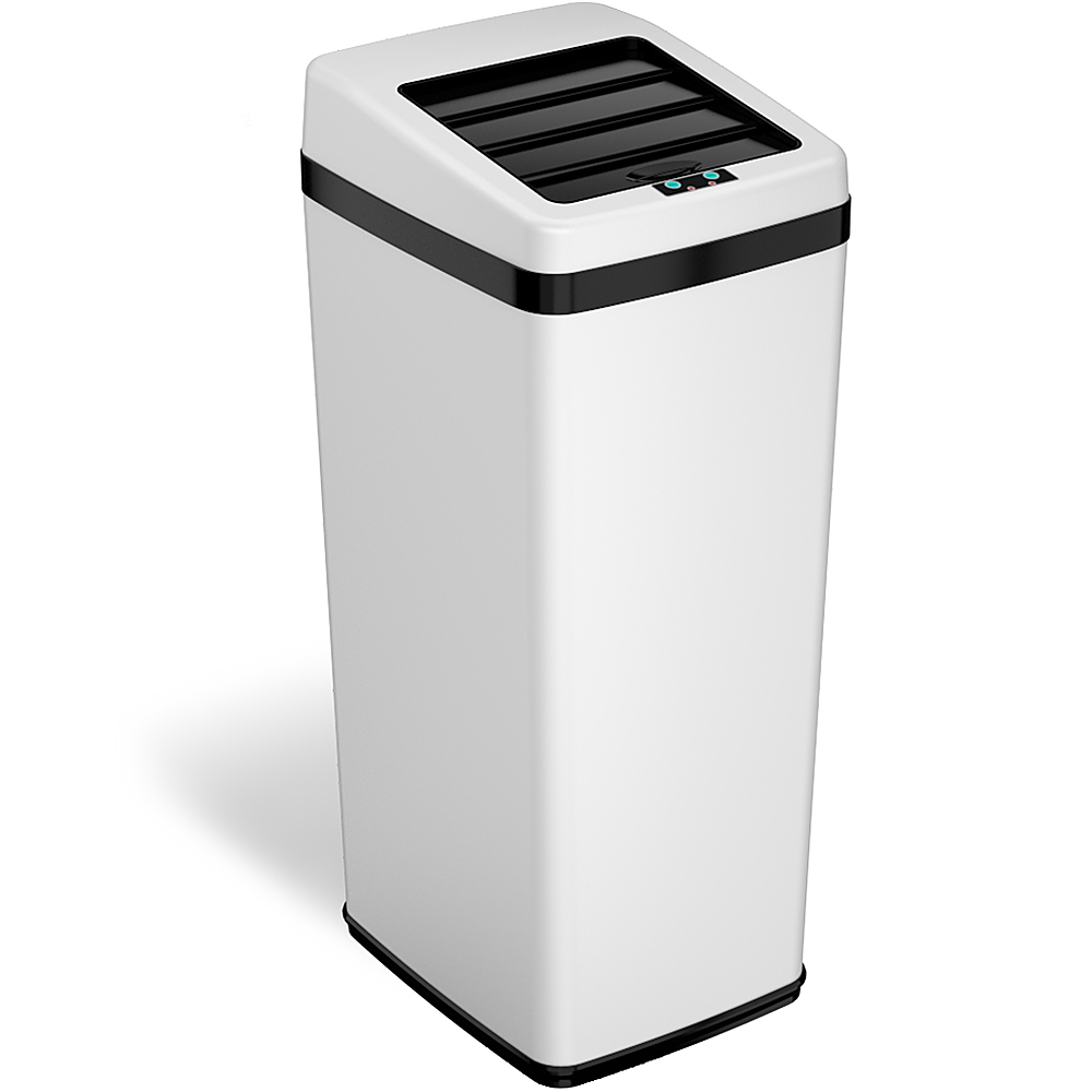 Small White Trash Can With Lid Itouchless Sx 14 Gal Touchless Trash Can White