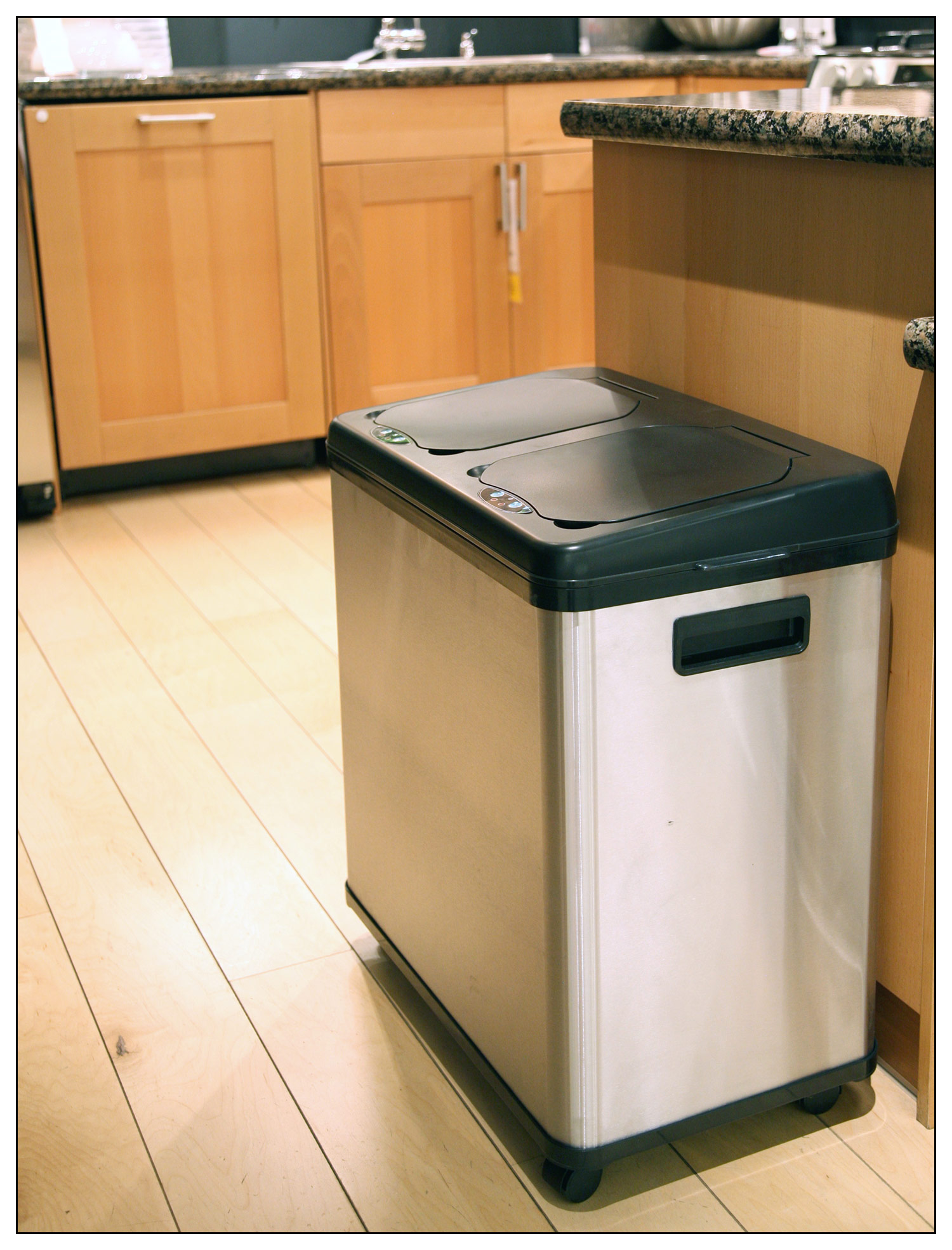 Stainless Steel Tall Kitchen Garbage Can Tall Garbage Cans Best Buy