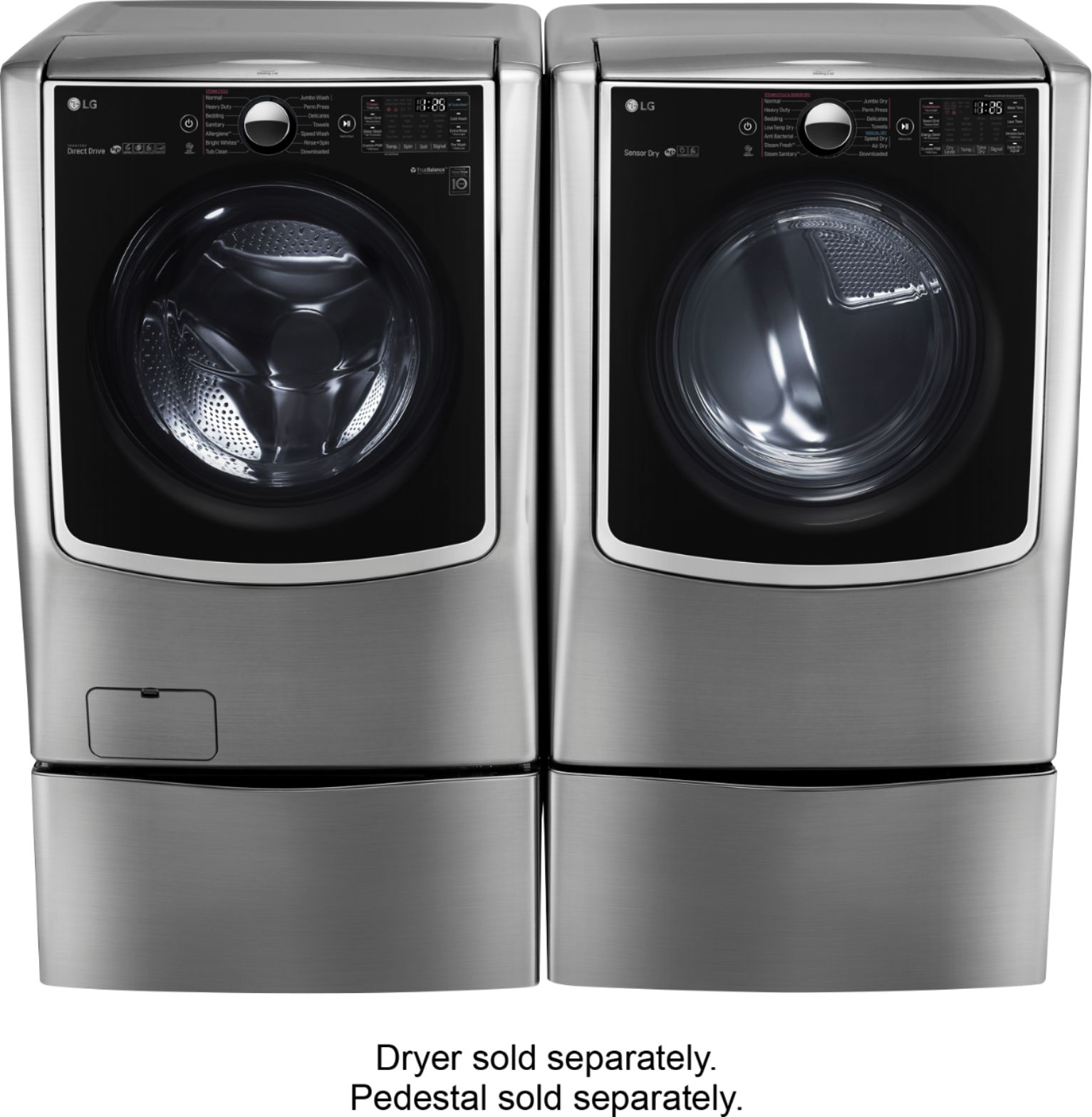 Washer And Dryer Calgary Lg 5 2 Cu Ft 14 Cycle Front Loading Smart Wi Fi Washer With Turbowash And Steam Graphite Steel