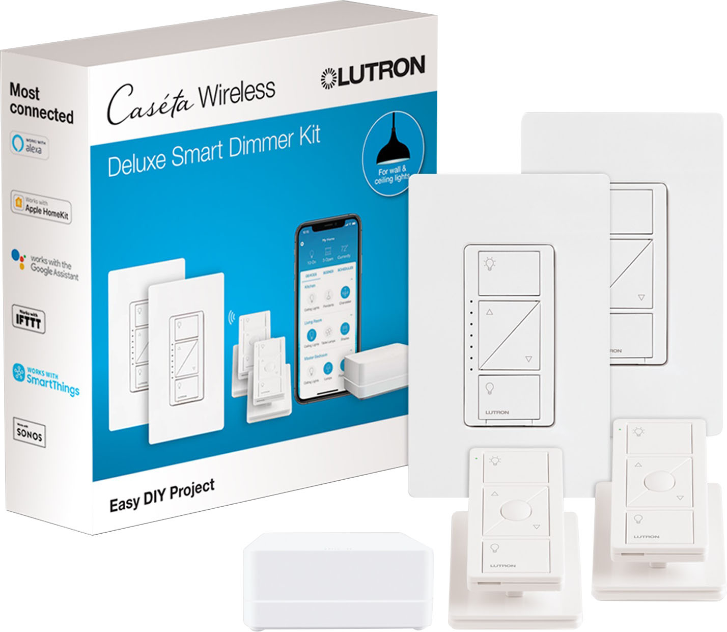 Dimmer Switch Lutron Caséta Wireless Smart Lighting Dimmer Switch 2 Pack Starter Kit White
