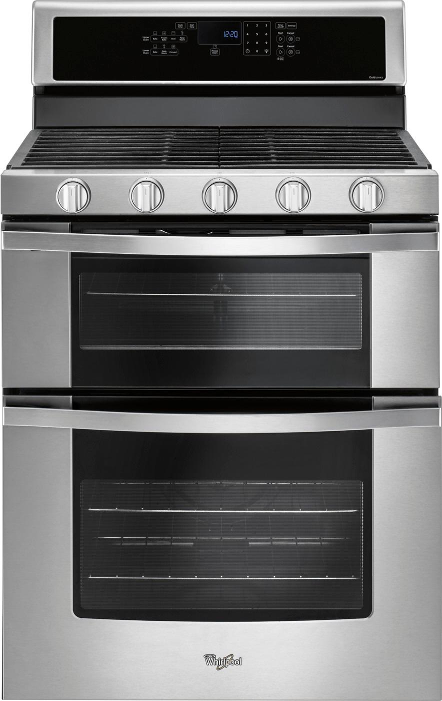 Whirlpool Countertop Stove Whirlpool 6 Cu Ft Self Cleaning Freestanding Double Oven Gas Convection Range Stainless Steel