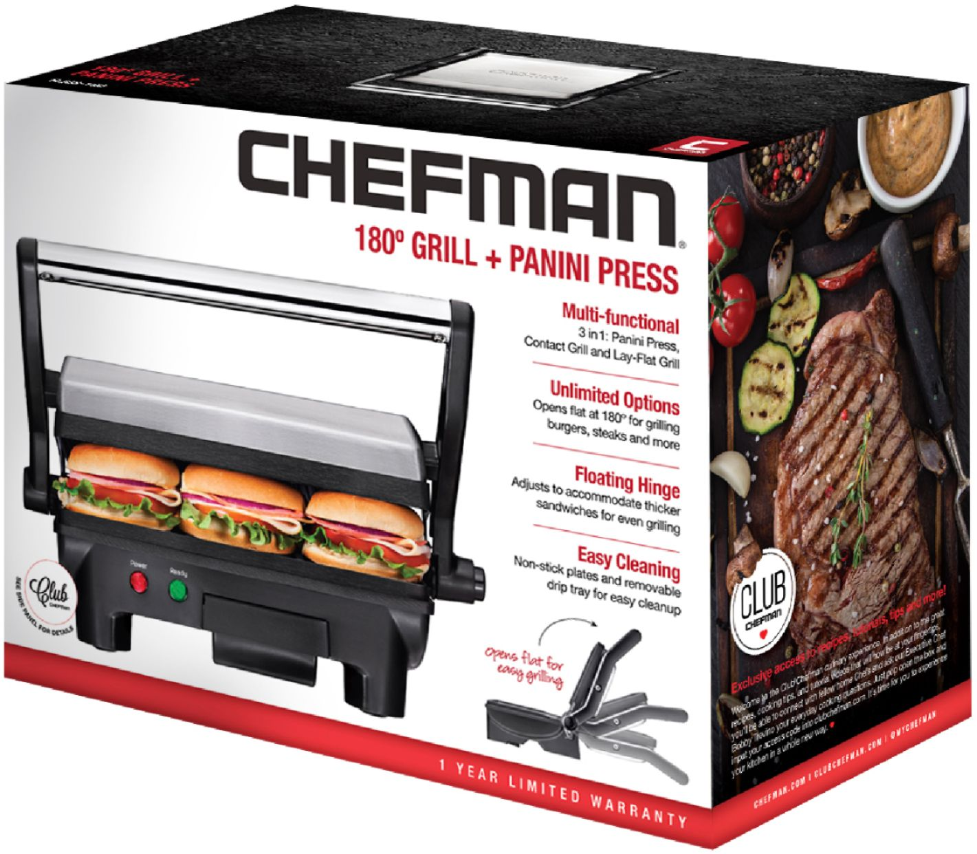 Grille Panini Chefman Grill Panini Press Stainless Steel