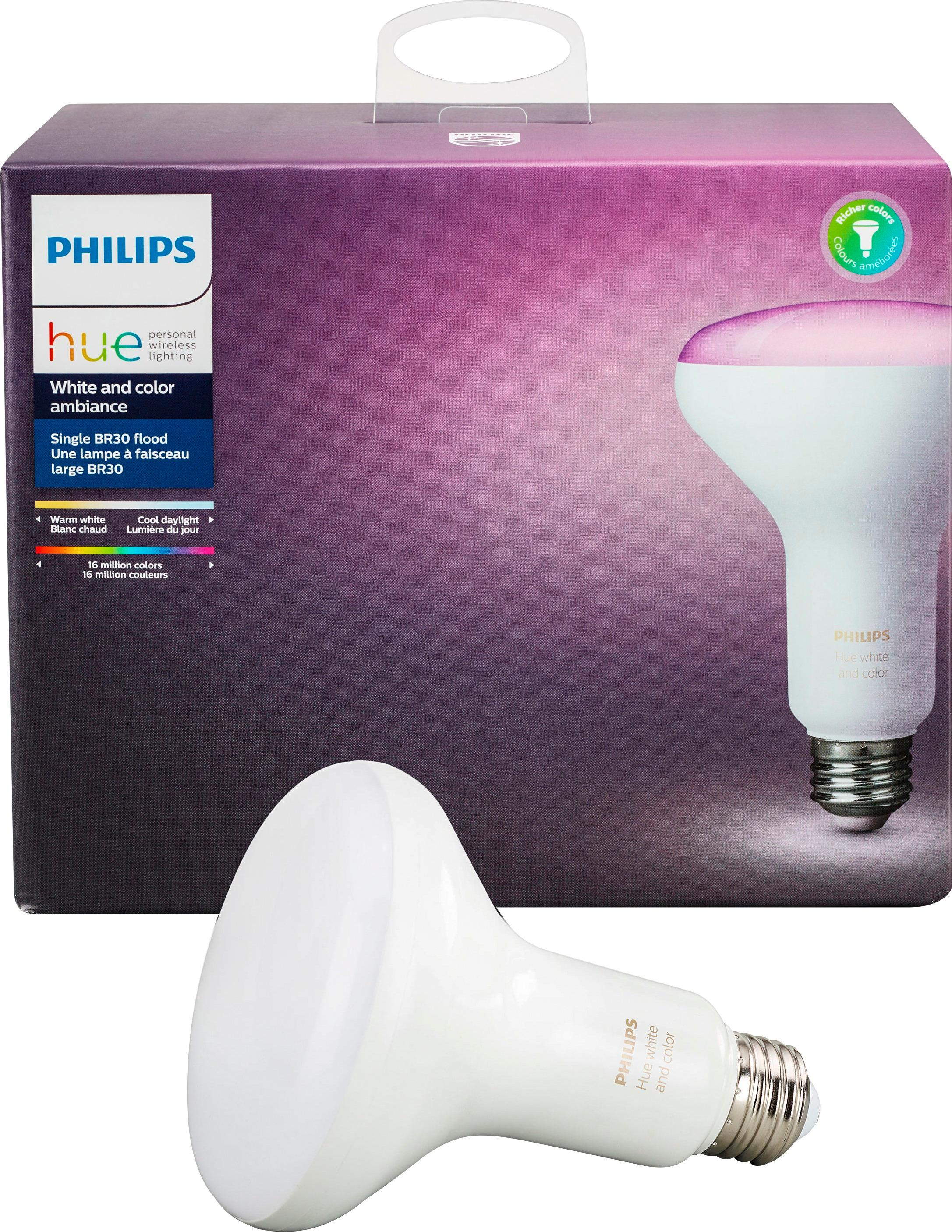 Philips Hue Br30 Philips Hue White And Color Ambiance Br30 Wi Fi Smart Led Floodlight Bulb Multicolor