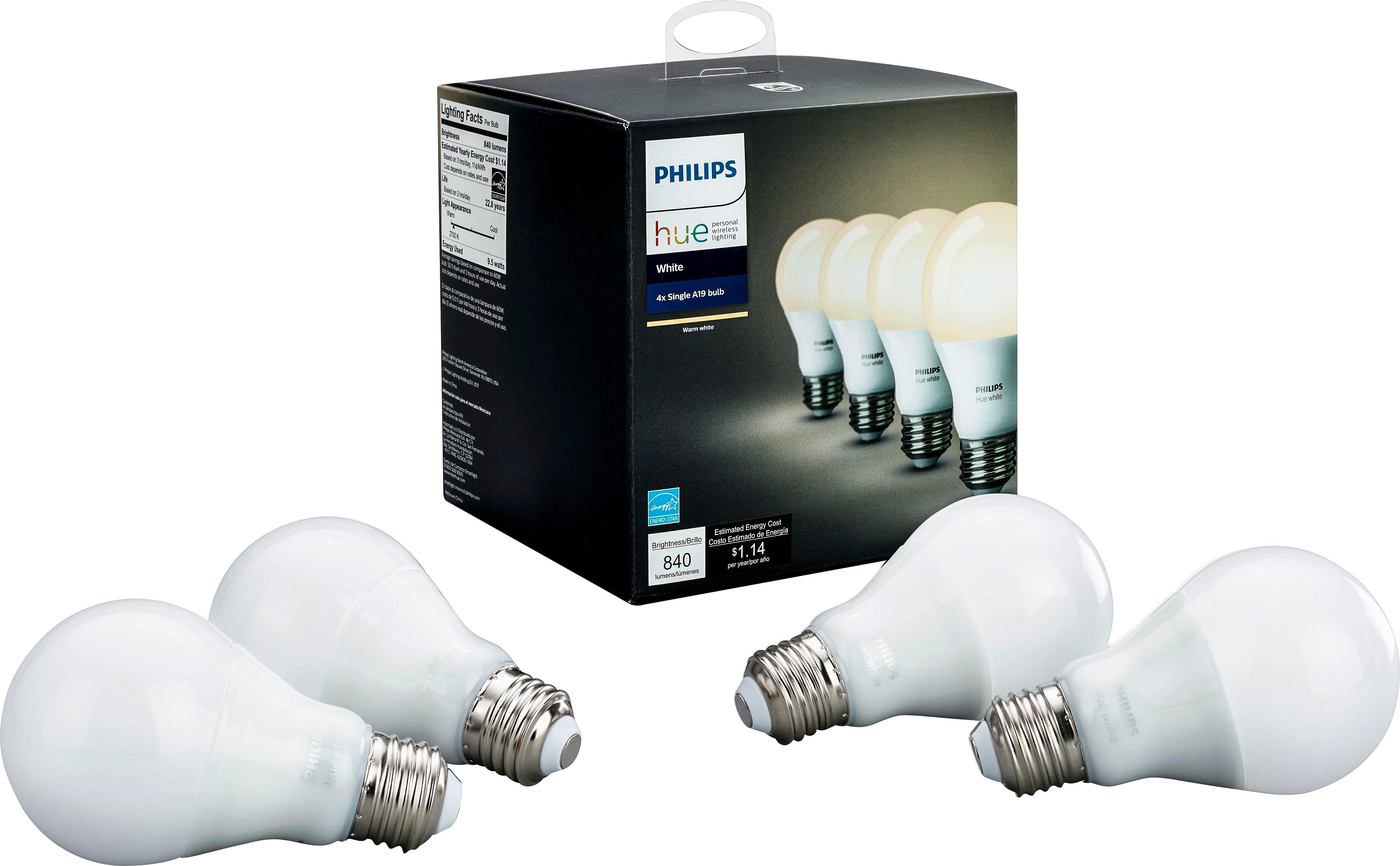 Smart Led Bulb Details About Philips Hue White A19 Wi Fi Smart Led Bulb 4 Pack White