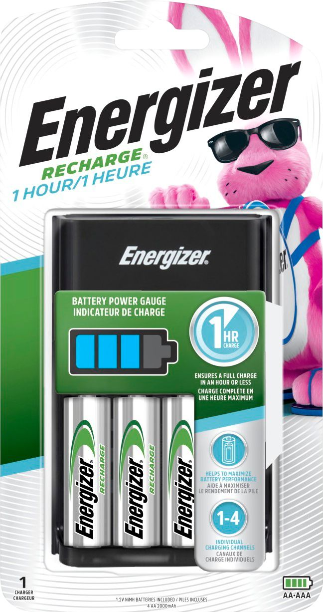 Batterie Aa Energizer Recharge 1 Hour Nimh Aa Aaa Battery Charger Black