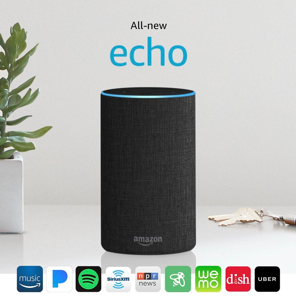 ???echo Amazon Echo 2nd Gen Smart Speaker With Alexa Charcoal Fabric