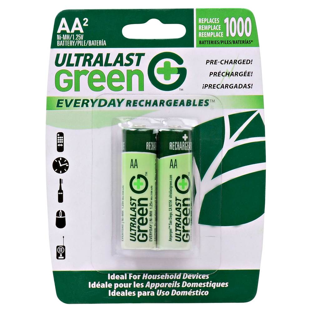 Pile Aa Rechargeable Ultralast Green Everyday Rechargeables Rechargeable Aa Batteries 2 Pack