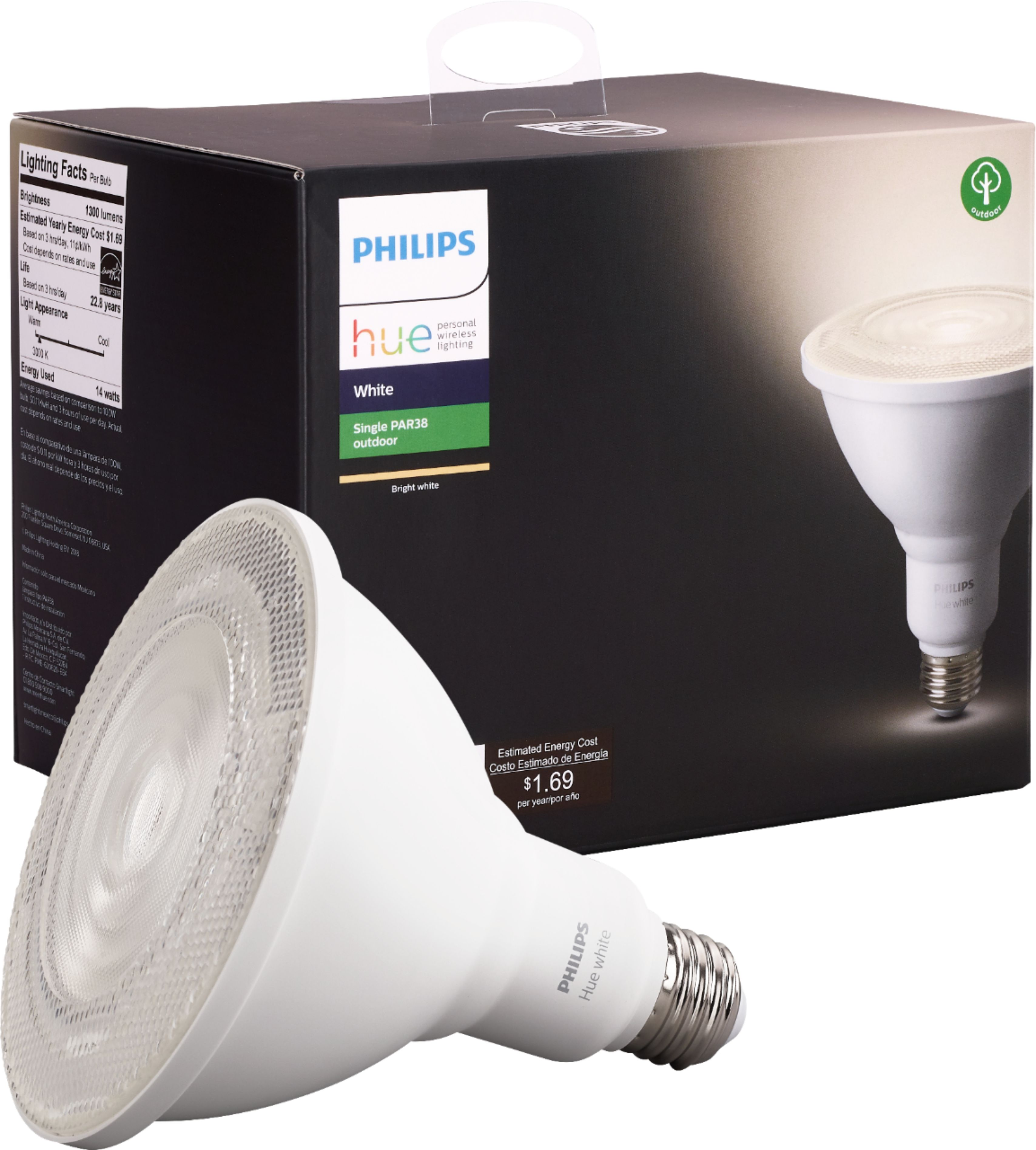 Bright Light Philips Philips Outdoor Hue White Par 38 Smart Led Bulb White