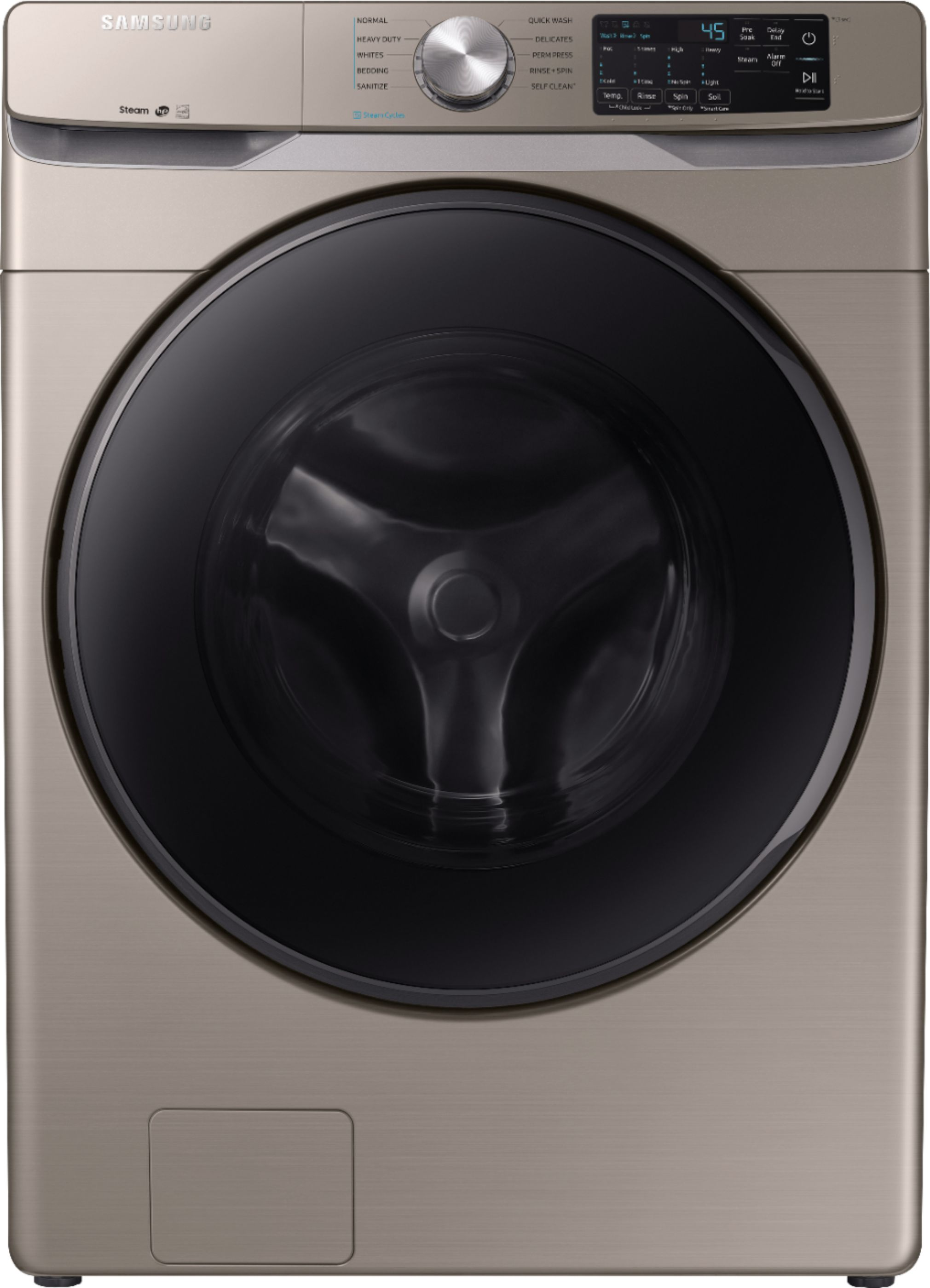 Samsung Front Load Washer Samsung 4 5 Cu Ft 10 Cycle High Efficiency Front Loading Washer With Steam Champagne