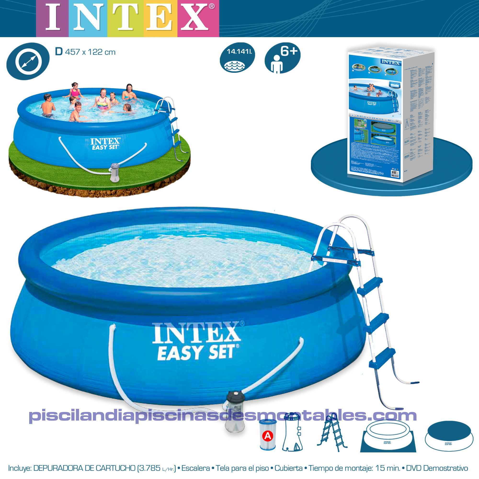 Intex Piscinas Acessorios Piscina Hinchable Intex 457 X 122 Cm Con Depuradora