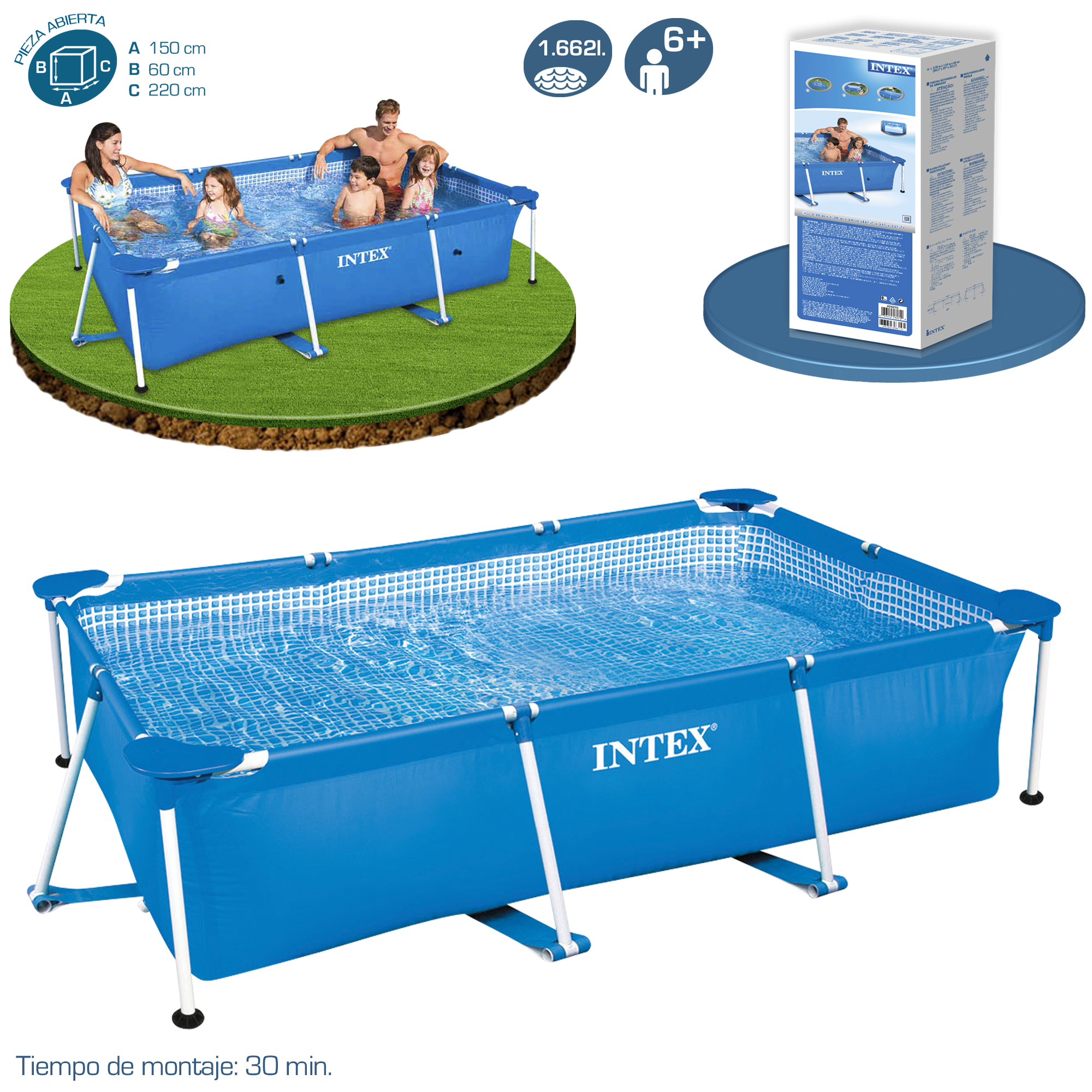 Intex Piscinas Acessorios Piscina Intex Small Rectangular Frame Piscinas Desmontables