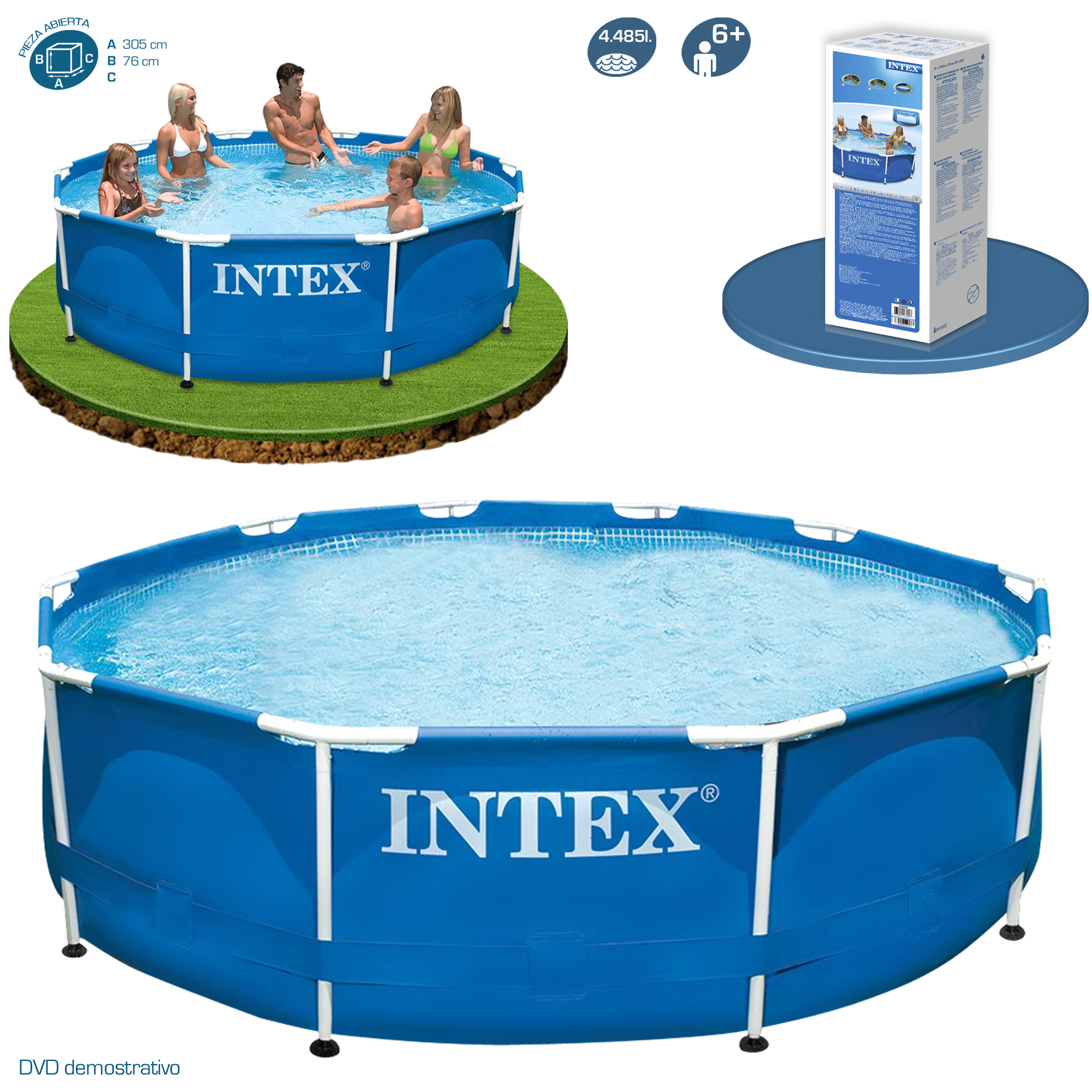Piscinas Desmontables 2016 Piscina Metal Frame 305x76 Intex 28200 28202