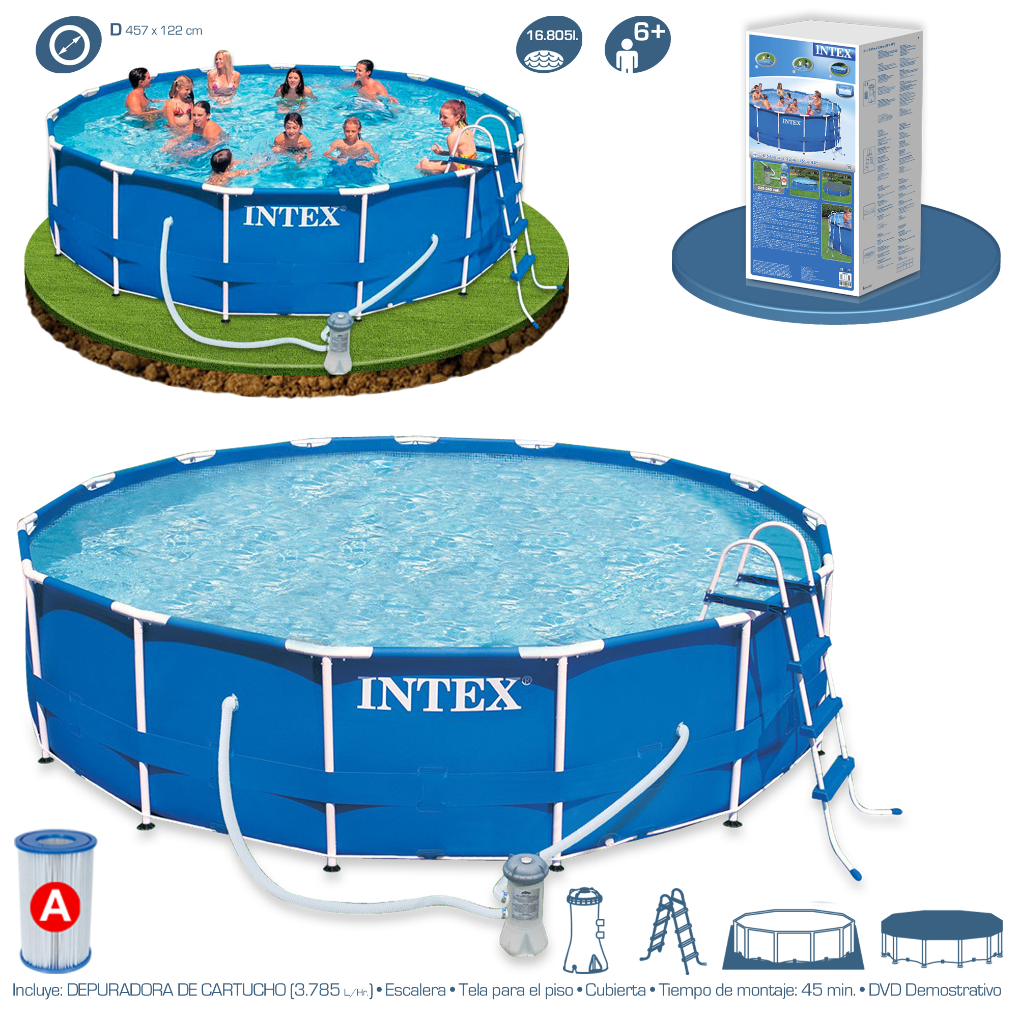 Intex Piscinas Acessorios Piscina Intex Metal Frame 457x122 28236 Piscinas