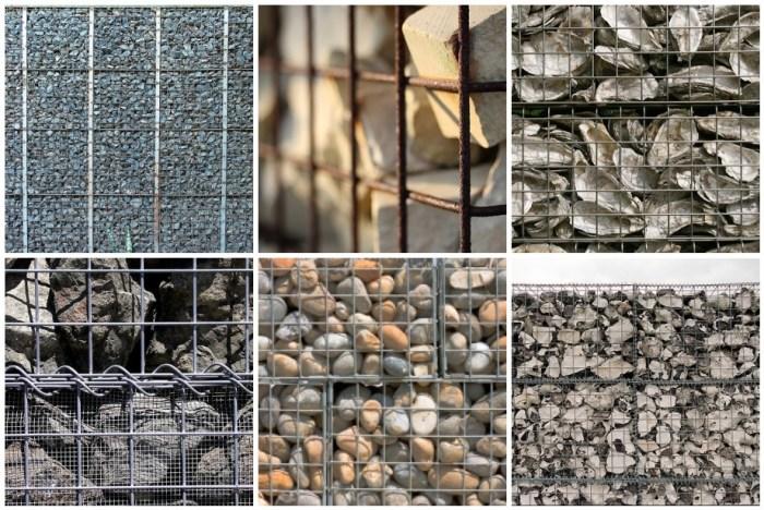 mosaic of gabion materials by www.pithandvigor.com