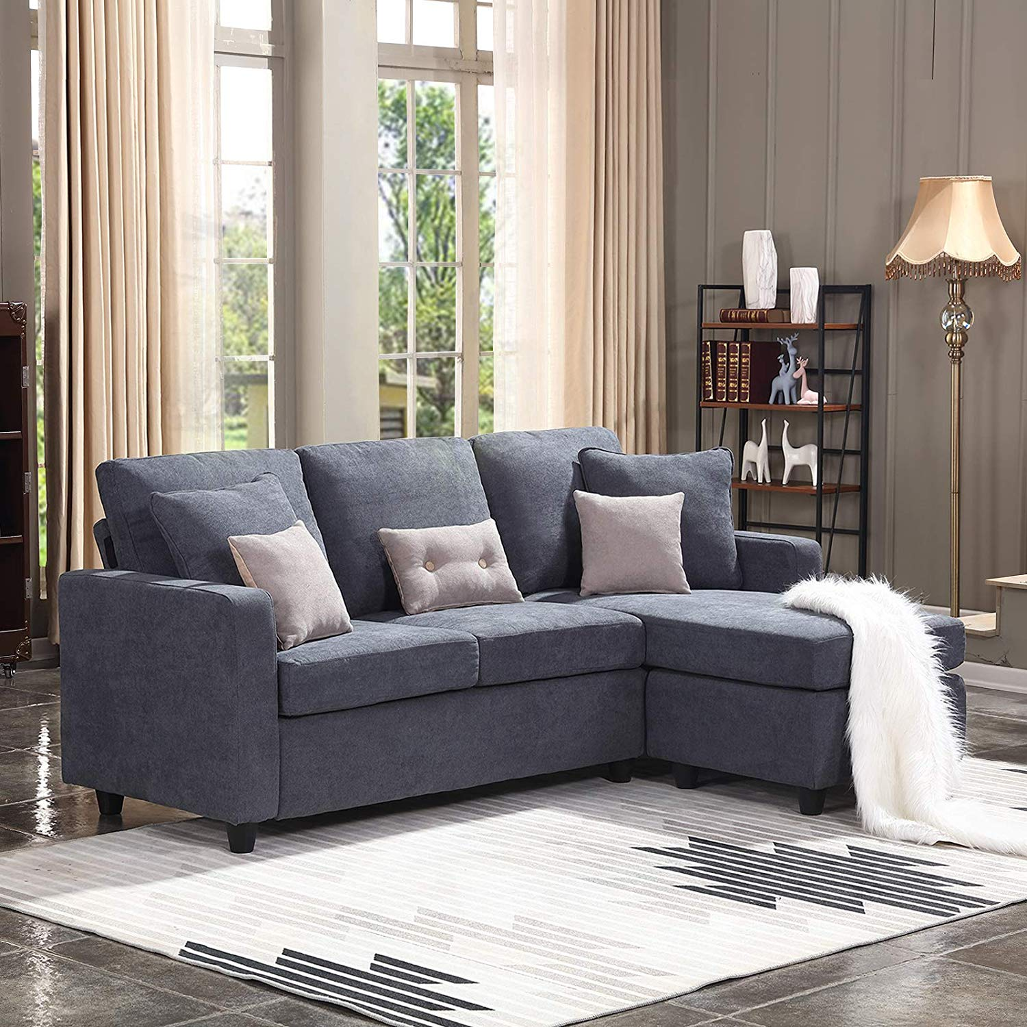 Honbay Convertible Sectional Sofa Couch L Shaped Couch - Couch L