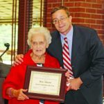 Senior Companion of the Year Awardee Mary Schuetz with program manager John Miller.