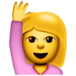 Blonde Emoji Girl Raising Hand