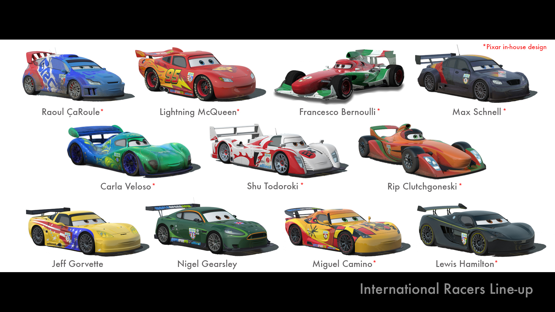 Cars Pixar Lewis Hamilton Cars 2 International Racers Line Up