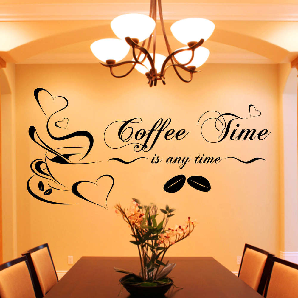 Wandtattoo Esszimmer Spruch Wandtattoo Coffee Time Is Any Time Kaffee Spruch Zitat