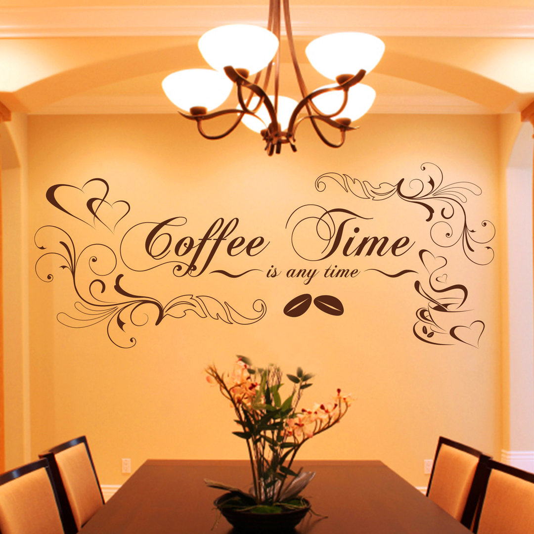 Wandtattoo Rot Kueche Wandtattoo Coffee Time Is Any Time Verschnörkeltes Kaffee