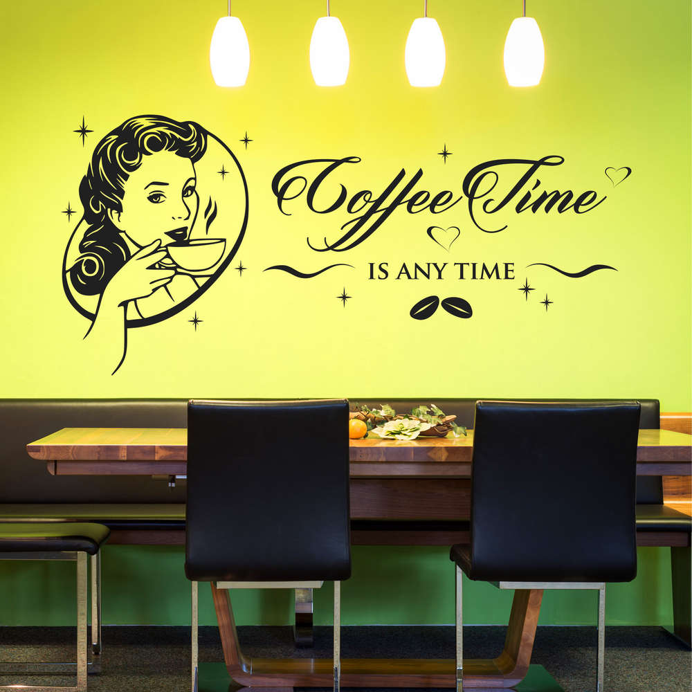Wandtattoo Design Wandtattoo Coffee Time Is Any Time Tolles Retro Design Für Küche