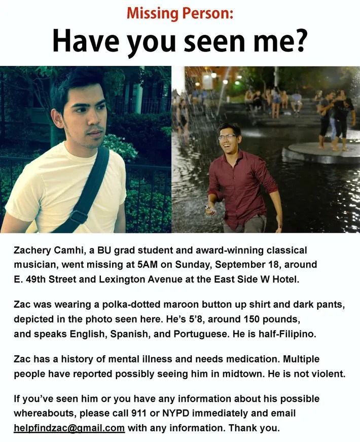 Boston Music Student With Bipolar Goes Missing in NYC - Missing Persons Posters
