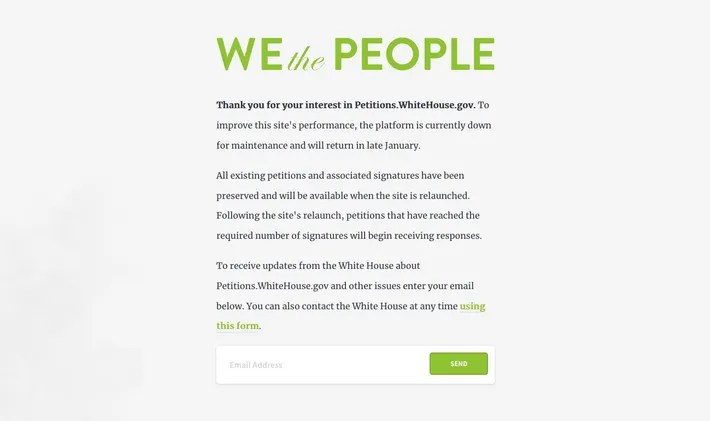 We the People White House Petition Site Down for Maintenance