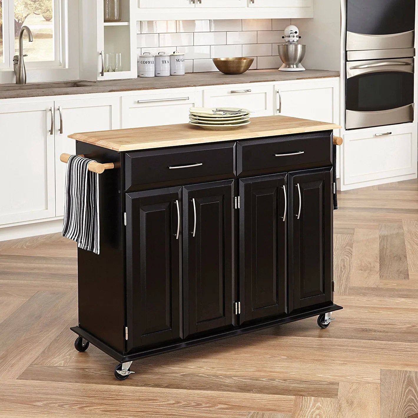 Kitchen Island Butcher Block Tops Home Styles 4528 95 Dolly Madison Kitchen Cart Black Finish