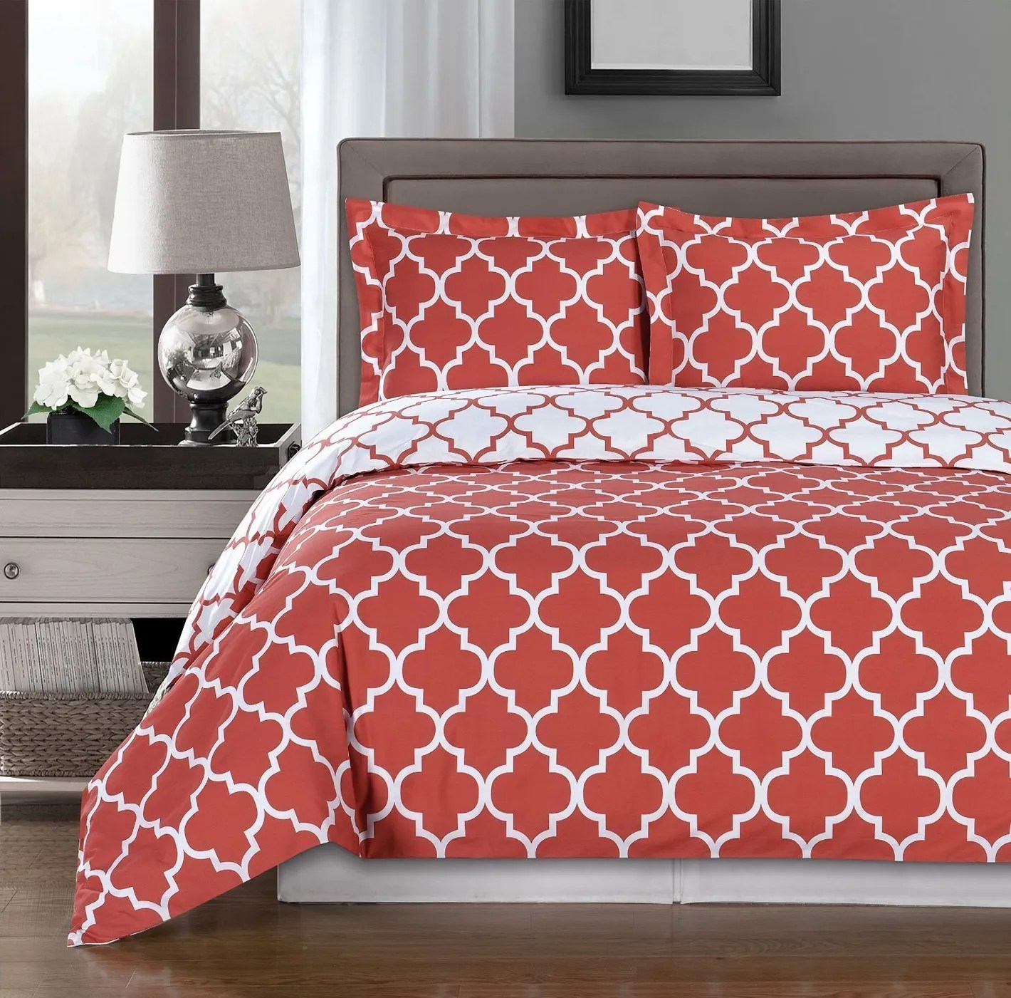 Where To Buy Nice Duvet Covers Royal Hotel Coral And White Meridian Full Queen 3 Piece Duvet Cover Set