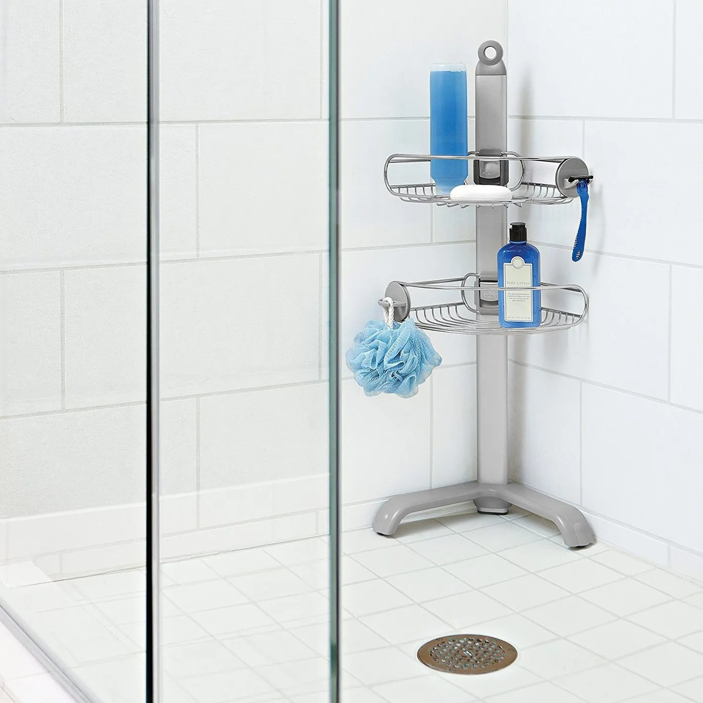 Bathroom Shower Dispensers Simplehuman Corner Shower Caddy Adjustable Shelves Stainless Steel And Anodized Aluminum