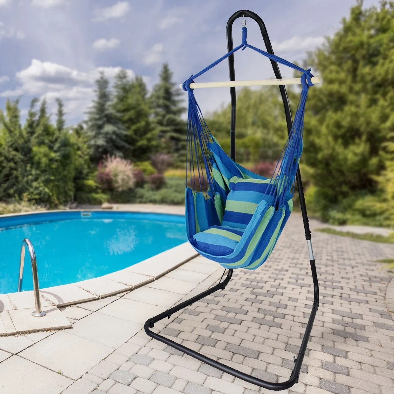 Hanging Outdoor Chairs Sorbus Hanging Rope Hammock Chair Swing Seat With Adjustable Multi Use Stand