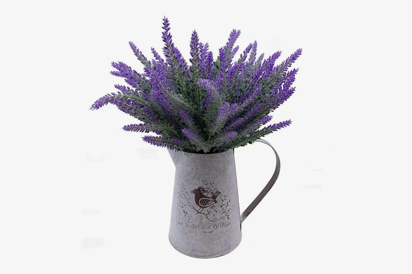 Salon De Jardin Made In France Vancore French Style Shabby Chic Vase Metal Pitcher With 6 Pcs Lavender Flowers