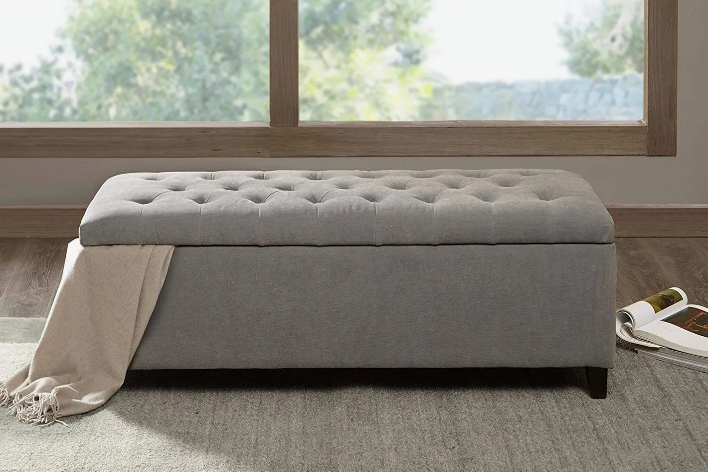 Seating With Storage Underneath Madison Park Shandra Tufted Top Storage Bench Grey