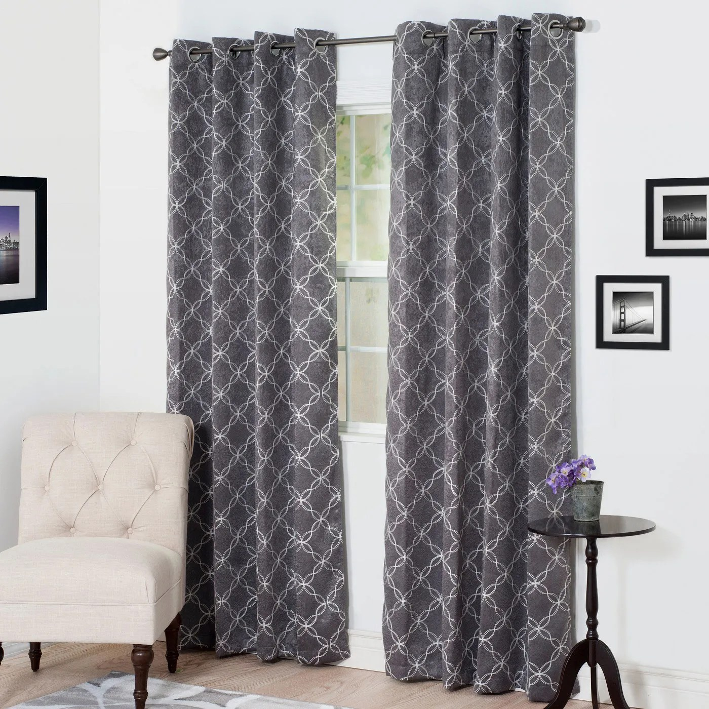 Black And White Chevron Blackout Curtains Yorkshire Home Myra Room Darkening Curtain Panel