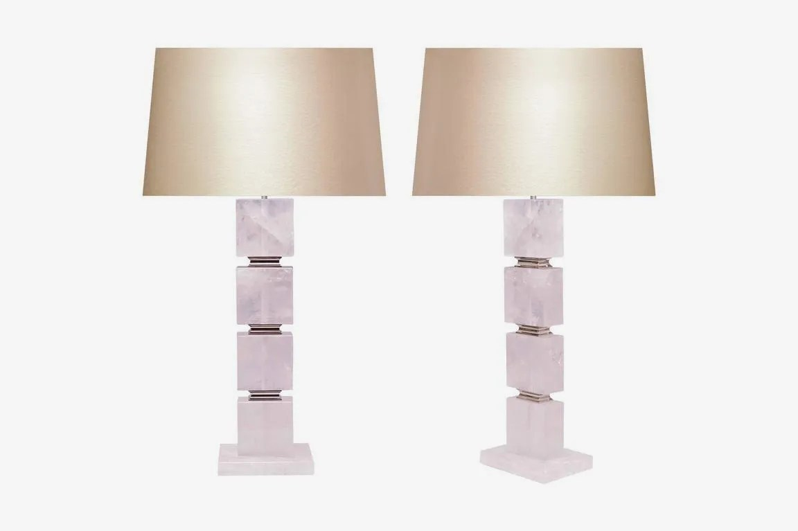 Funky Desk Lamps Phoenix Gallery Pair Of Flat Cubic Form Rock Crystal Lamps