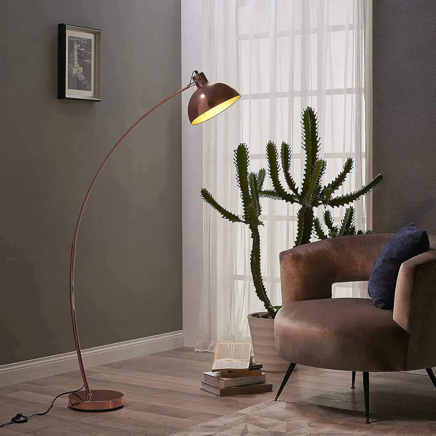 Gold Floor Reading Lamp Teamson Design Versanora Arco 63 Rose Gold Metal Arc Floor Reading Lamp