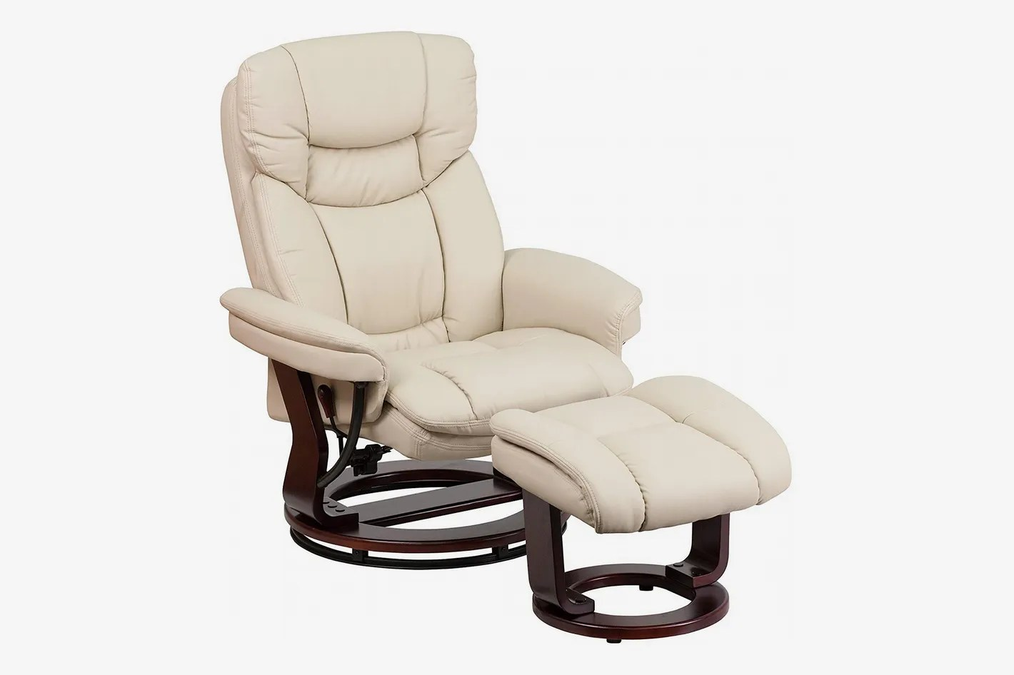 Chair Leather Reclining Swivel Flash Furniture Contemporary Beige Leather Recliner And Ottoman With Swiveling Base