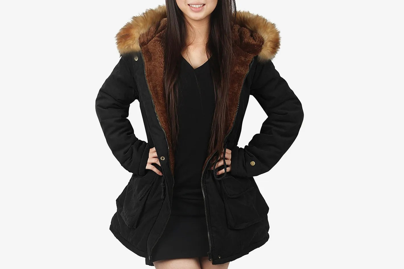 Fur Womens Ilovesia Womens Hooded Warm Parka With Faux Fur