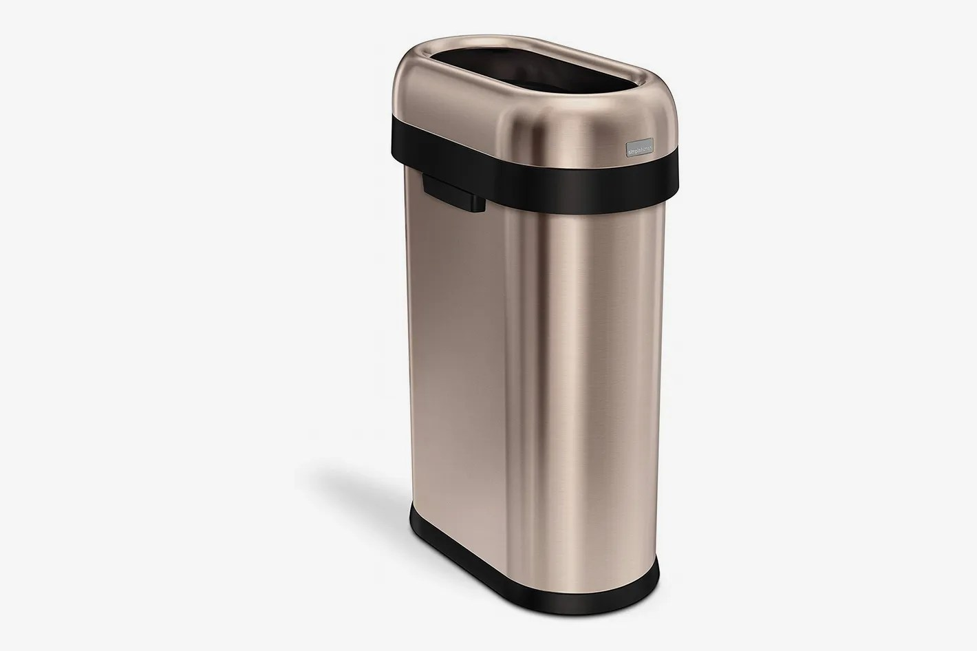 Cool Trash Bins Simplehuman Slim Open Top Trash Can Commercial Grade Heavy Gauge Stainless Steel